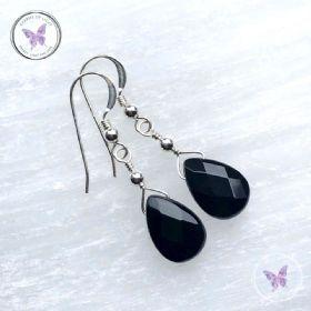 Black Onyx Faceted Teardrop Earrings
